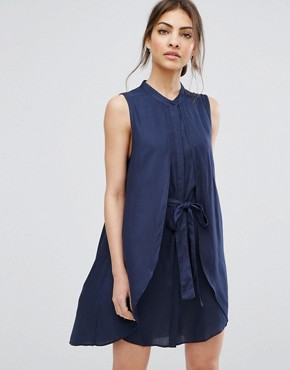 photo Ash Layered Dress with Belt by Urban Bliss, color Blue - Image 1