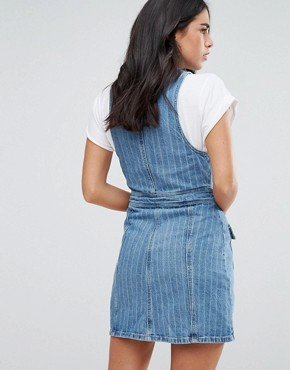 photo Dana Zip Front Dress in Pinstripe Denim by Urban Bliss, color Denim - Image 2