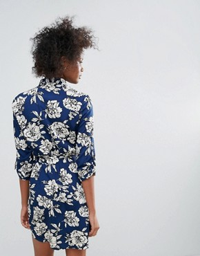 photo Yvonne Printed Shirt Dress by Urban Bliss, color Navy - Image 2