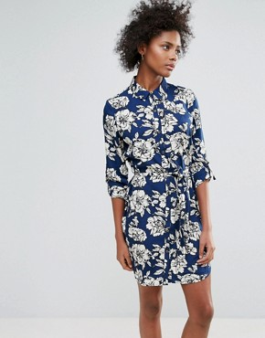 photo Yvonne Printed Shirt Dress by Urban Bliss, color Navy - Image 1