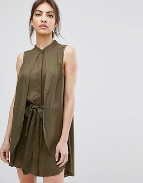 photo Ash Layered Dress with Belt by Urban Bliss, color Khaki - Image 1