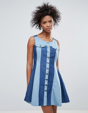 photo Maggie Button Through Dress in Two Tone Denim by Urban Bliss, color Denim - Image 1