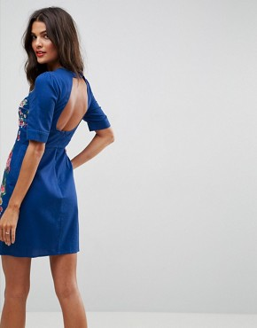 photo Embroidered Mini Dress with Open Back by ASOS PREMIUM, color Blue - Image 2