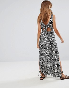 photo Bow Back Maxi Dress in Zebra Print by ASOS, color Multi - Image 1