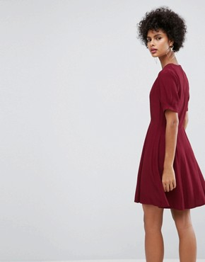 photo Mini Tea Dress with Zip Detail by ASOS, color Wine - Image 2