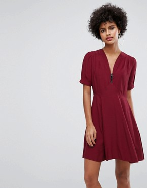 photo Mini Tea Dress with Zip Detail by ASOS, color Wine - Image 1