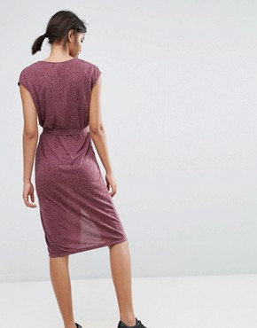 photo V-Neck Slit Dress by Selected, color Mauve Wine - Image 2