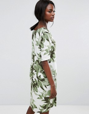 photo Tropical Print Shift Dress by Selected, color Whisper Green - Image 2
