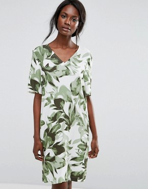 photo Tropical Print Shift Dress by Selected, color Whisper Green - Image 1