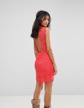 photo Daydream Bodycon Lace Dress by Free People, color Coral - Image 2