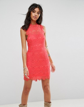 photo Daydream Bodycon Lace Dress by Free People, color Coral - Image 1