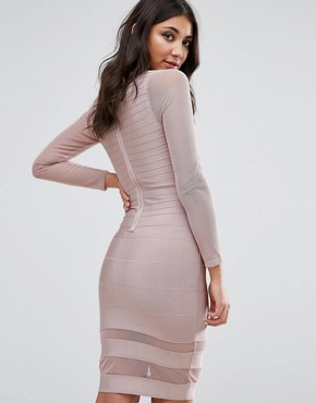 photo Purple Long Sleeve Mesh Insert Mini Dress by Missguided, color Mauve - Image 2