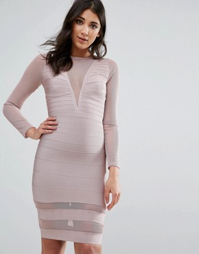 photo Purple Long Sleeve Mesh Insert Mini Dress by Missguided, color Mauve - Image 1