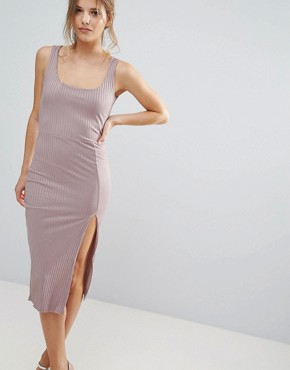photo Purple Ribbed Split Scoop Neck Midi Dress by Missguided, color Mauve - Image 1
