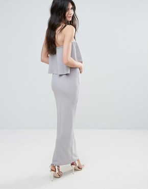 photo Grey Crepe Frill Side Split Maxi Dress by Missguided, color Grey - Image 2