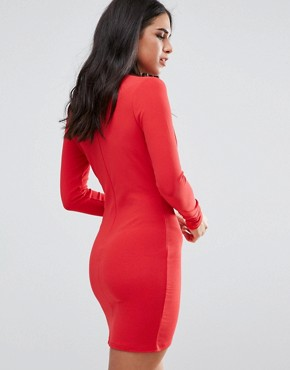 photo Red Tie Neck Plunge Long Sleeve Bodycon Dress by Missguided, color Red - Image 2