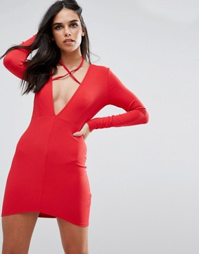photo Red Tie Neck Plunge Long Sleeve Bodycon Dress by Missguided, color Red - Image 1