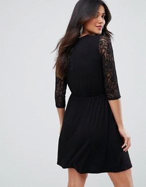photo Mini Smock Dress with Lace Sleeves by ASOS Maternity, color Black - Image 2