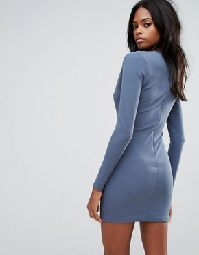 photo Blue Tie Neck Plunge Long Sleeve Bodycon Dress by Missguided, color Blue - Image 2