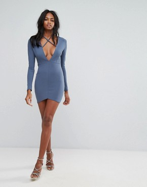 photo Blue Tie Neck Plunge Long Sleeve Bodycon Dress by Missguided, color Blue - Image 4