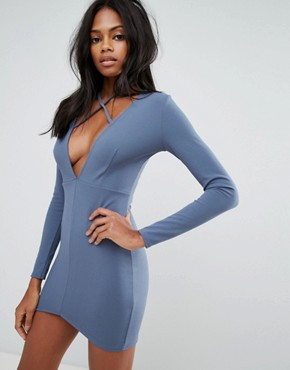 photo Blue Tie Neck Plunge Long Sleeve Bodycon Dress by Missguided, color Blue - Image 1