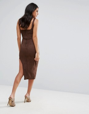 photo Brown Faux Suede Asymmetric Midi Dress by Missguided, color Chocolate - Image 2