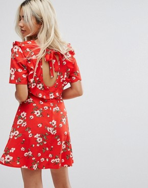 photo Tea Dress in Floral Print by Fashion Union Petite, color Red - Image 2