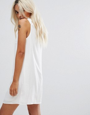 photo High Neck Tunic Dress with Cut Out Front by Fashion Union Petite, color White - Image 2