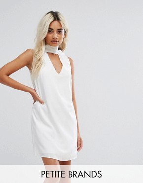 photo High Neck Tunic Dress with Cut Out Front by Fashion Union Petite, color White - Image 1