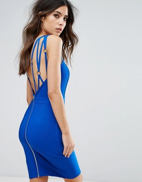 photo Strap Detail Bandage Dress by WOW Couture, color Royal Blue - Image 1