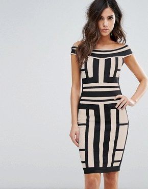 photo Off Shoulder Bandage Dress in Contrast Panelled Grid by WOW Couture, color Multi - Image 1