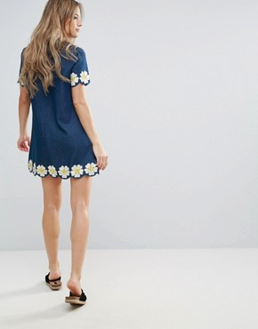 photo Denim Short Sleeve Dress with Daisy Embroidered Detail by The English Factory, color Denim - Image 2