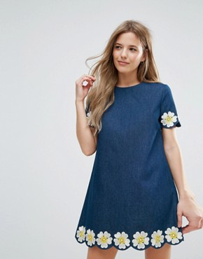 photo Denim Short Sleeve Dress with Daisy Embroidered Detail by The English Factory, color Denim - Image 1