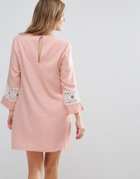 photo Shift Dress with Crochet Detail by The English Factory, color Nude Pink - Image 2