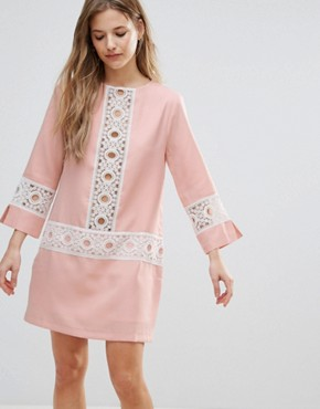 photo Shift Dress with Crochet Detail by The English Factory, color Nude Pink - Image 1