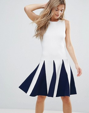 photo Sleeveless Dress with Ruffle Detail by The English Factory, color White Navy - Image 1