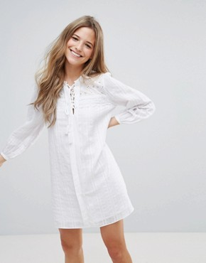 photo Long Sleeve Shift Dress by The English Factory, color White - Image 1