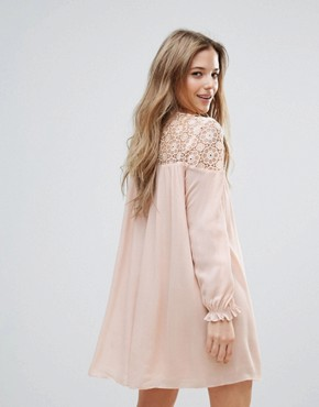 photo Long Sleeve Tunic Dress with Embroidery and Tie Detail by The English Factory, color Nude Pink - Image 2
