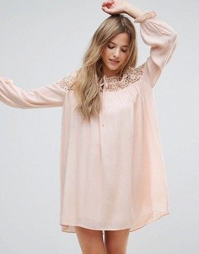 photo Long Sleeve Tunic Dress with Embroidery and Tie Detail by The English Factory, color Nude Pink - Image 1