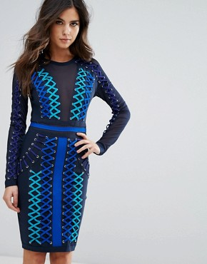photo Lace Up Detail Bandage Dress with Mesh Insert by WOW Couture, color Blue - Image 1
