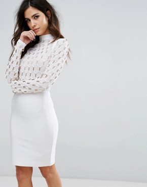 photo High Neck Bandage Dress with Caged Gold Detail by WOW Couture, color White - Image 1