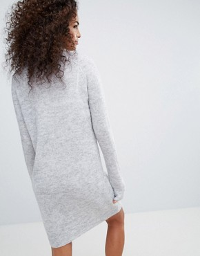 photo Young High Neck Wool and Mohair Blend Knit Jumper Dress by Noisy May, color Grey - Image 2