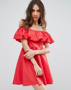 photo Frill Bardot Dress by QED London, color Red - Image 1