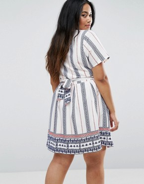 photo Skater Dress in Vertical Stripe by Yumi Plus, color Cream - Image 2