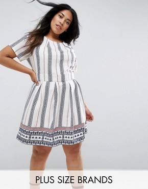 photo Skater Dress in Vertical Stripe by Yumi Plus, color Cream - Image 1