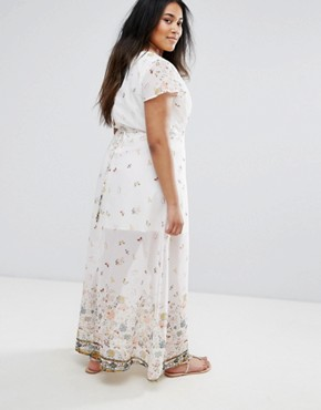 photo Maxi Dress in Meadow Border Print by Yumi Plus, color Cream - Image 2