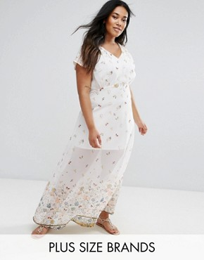 photo Maxi Dress in Meadow Border Print by Yumi Plus, color Cream - Image 1