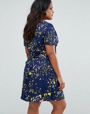 photo Lace Trim Tea Dress in Butterfly Print by Yumi Plus, color Navy - Image 2