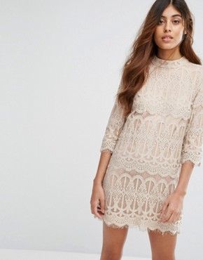 photo Sixties Vibe A-Line Dress in Lace by Goldie, color Grey - Image 1