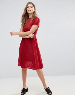 photo Lace Flared Midi Dress by Goldie, color Red - Image 2